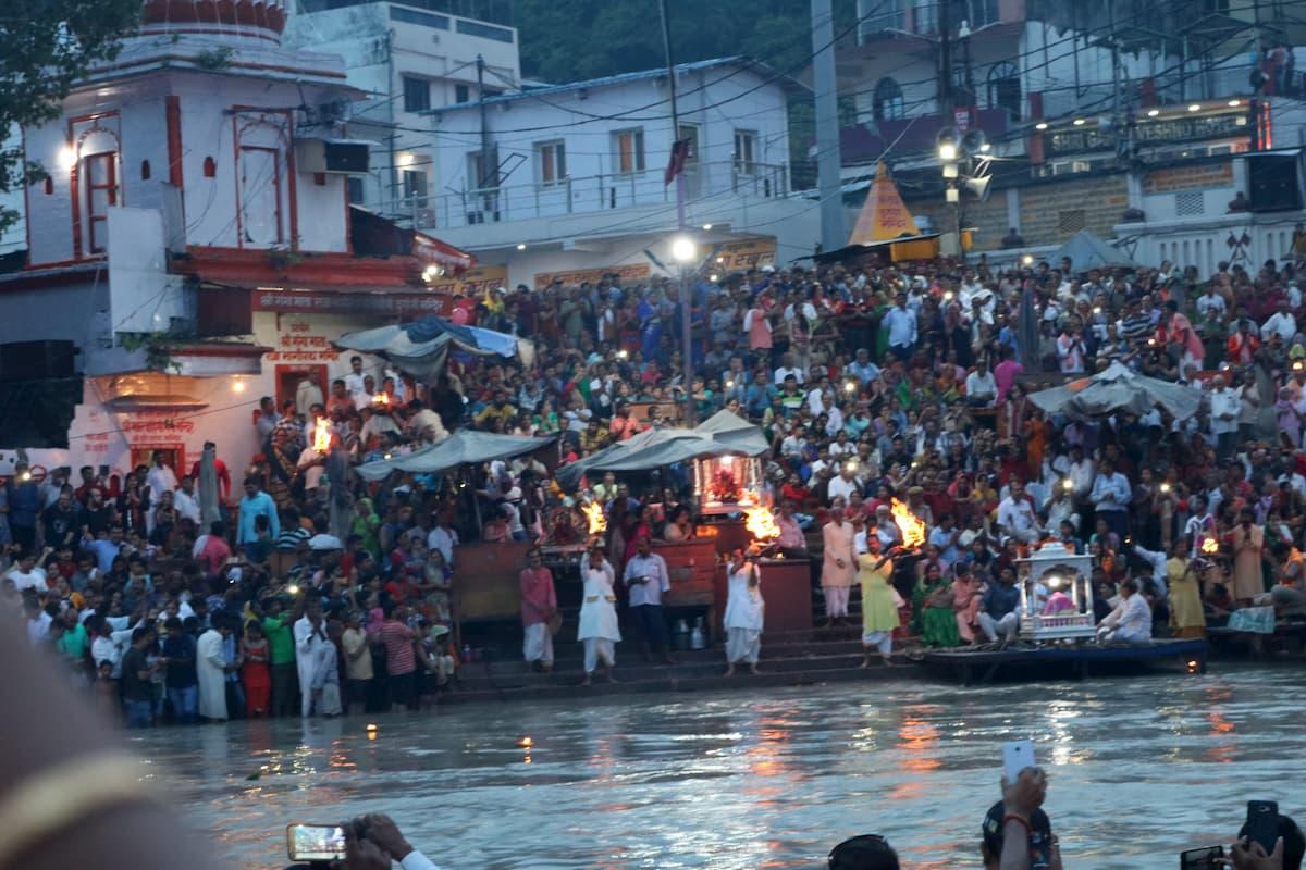 Haridwar Gange ceremonie nuit nde