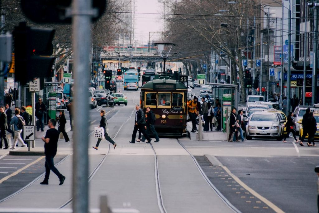 Finger street tram Melbourne