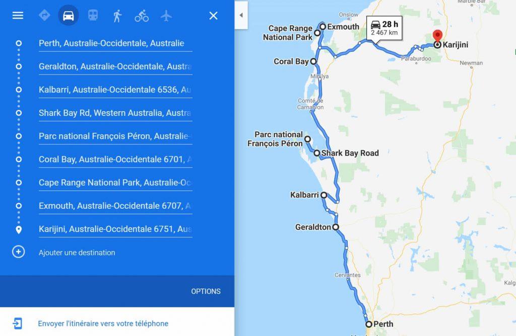 Western australia Itinéraire